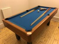 POOL TABLE. 6ft x 3ft. with ball collection system, pool cues, triangle and american style balls