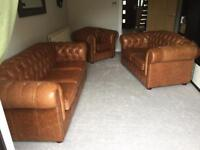Chesterfield analine stress leather rust