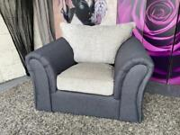 New Quartz Fabric Compact Armchair In Charcoal Grey