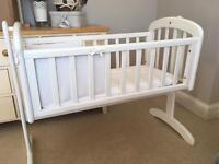 Baby crib John Lewis white wooden