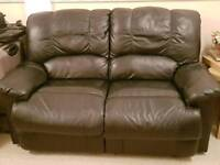 2 Seater Real Leather Recliner sofa × 2