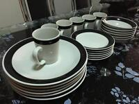 Black and white dinner set of 6
