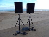 "Pulse 1200W PA System With 15"" PVS15 Speakers & SPA600 Power Amplifier Head, Stands & Leads"