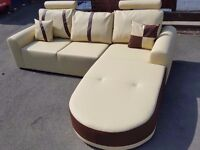 Very nice BRAND NEW cream and brown leather corner sofa.modern design.can deliver