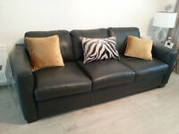 Dark grey leather 3 seater sofa