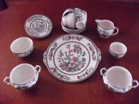 A Vintage Johnson Brothers 18 Piece Indian Tree Pretty Oriental Flower Afternoon Tea Set