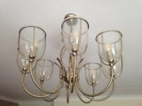 Brass and aged glass pendant light