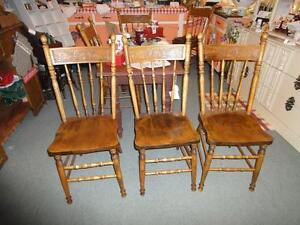 SET OF 6 ANTIQUE PRESS BACK CHAIRS