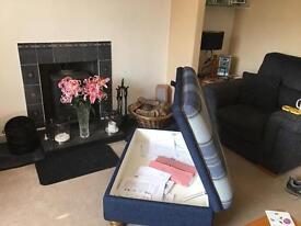 Large tartan footstool