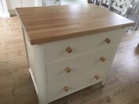 Solid wood kitchen island/freestanding unit with solid beech worktop