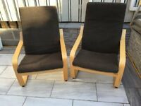 2No Ikea Poang Arm Chairs with a brown weave cushion. hardly used in very good condition.