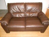 2 x 2 seat leather, dark brown sofa