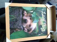 Lovely puppy print with light oak like frame