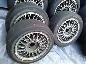 "8 No. 15"" Ford Sierra Cosworth wheels - 3x Dunlop and 4x Michelin slicks and spare rim"