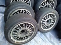 """8 No. 15"""" Ford Sierra Cosworth wheels - 3x Dunlop and 4x Michelin slicks and spare rim"""