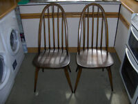 PAIR OF ERCOL WINDSOR QUAKER DINING CHAIRS MODEL 365 #FREE LOCAL DELIVERY#