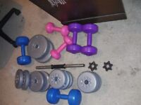 WEIGHTS FREE WEIGHT SELECTION APPROX 20KG AND HAND HELD WEIGHTS