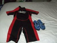 Children's Wet suits - 1 boys and 1 girls - including beach shoes