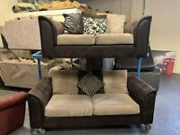 HARVEYS BROWN FABRIC SOFA SET IN EXCELLENT CONDITION