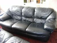 Black Leather 3 seater and 2 seater sofas cheap