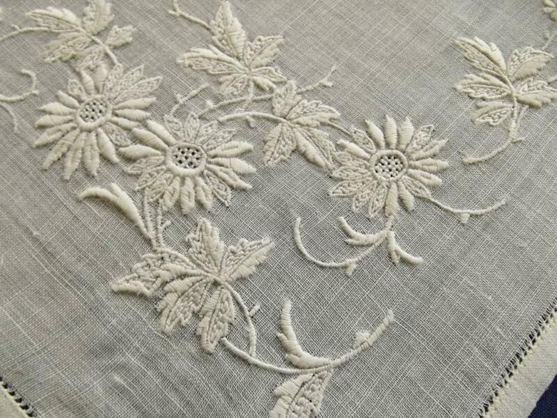 Antique Linen Hemstitched Handkerchief Scottish Ayrshire Embroidery Lace Hankie