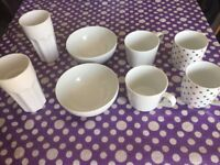 Mix of coffee mugs and serving bowls call 07438558402