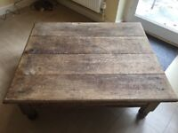 Vintage Rustic Oak Large Coffee Table
