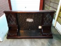 Mahogany Fire surround. With 2 draws and 2 cabinets with windows