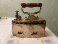 Vintage heavy Brass Coak Iron with decorative cockerel lock