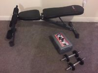 Bodymax CF324 Adjustable Weight Bench & York Fitness Cast Iron Dumbbell Set and Case