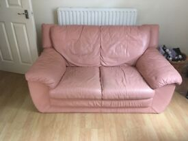 2 Seater Pink Leather Sofa