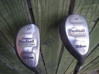 2 X WILSON PRO-STAFF SOLUTION HYBRIDS CLUBS - 18* AND 21*. VERY GOOD CONDITION.