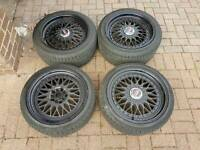 "BBS 17"" ALLOY WHEELS SUPERB TYRES 5X100 GOLF VW AUDI BORA A3 POLO SEAT TT"