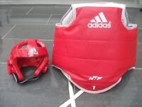 Adidas Taekwondo Boys Reversible Body Protector & Head Guard Size 1 (XS)