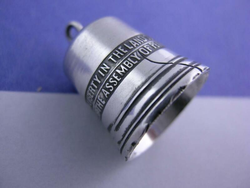 Vintage Sterling Thimble / Chatelaine Pendant Charm - figural LIBERTY BELL