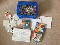 Box of Hama beads and Frames etc
