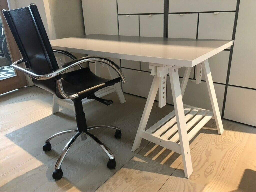 Picture of: Desk And Chair Ikea Desk White Grey With Office Chair Black Leather And Chrome In Hampstead London Gumtree