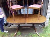 Antique Shabby Chic Oak Table And Chairs with Carver Chairs FREE delivery