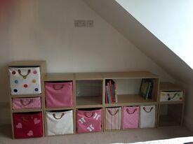 Beautiful 'Aspace' kids storage furniture with bookshelf, draws and fabric storage bags
