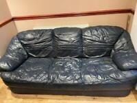 Free 3 seater Dark Blue Leather Sofa