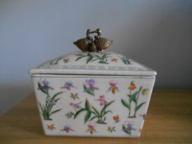 Decorative China Box with Bronze Look Duck Family Knob