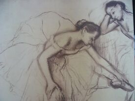 Ballet Print Mounted on Stretcher by Degas