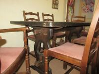 Solid Oak Cottage Style Dining Set with 6 Chairs