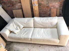 Cream leather Italian sofa