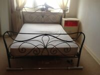 double bed (black metal frame) and mattress - for sale 80£