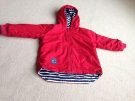 JoJo Maman Reversible Waterproof Fleece Lined Rain Jacket age 3-4