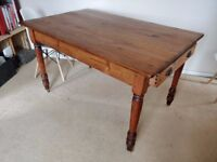 Antique wooden farmhouse style dining room table
