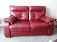 """Red 2 seater sette + matching recliner chair + foot stool 24""""×24"""""""
