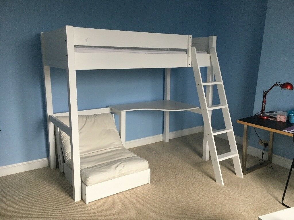 fff019adc8 Aspace Warwick High Sleeper Bed with Desk and Futon in white