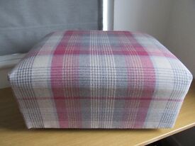 Pink and grey check footstool